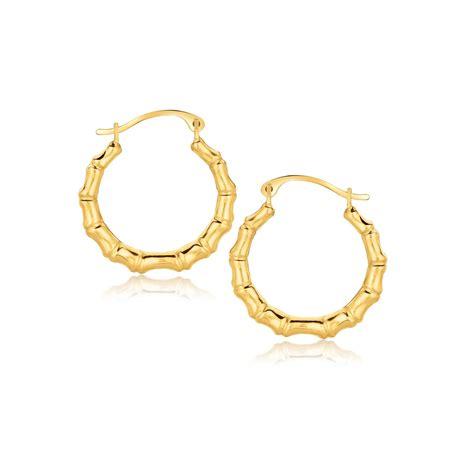 bamboo hoop earrings in 10k yellow gold ebay