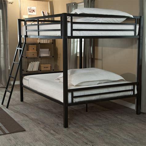 Black Metal Bunk Bed Modern Bunk Bed With Ladder In Black Metal Finish Ebay