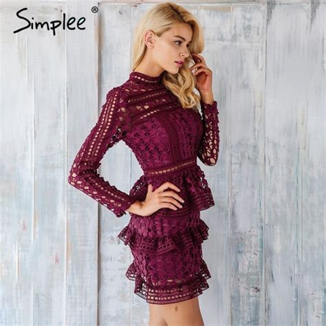 Ruffle Sleeve Vintage Dress buy simplee hollow out ruffle lace dress