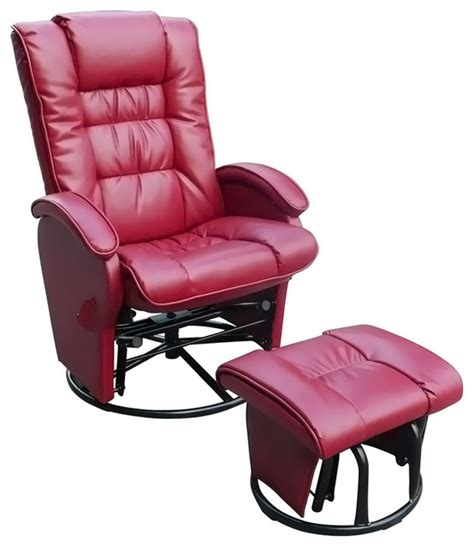 Leather Glider Rocker Recliner Chair With Ottoman Push Back Recliner Glider Rocker With Free Ottoman With
