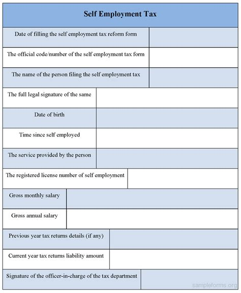 self employment tax form sle forms
