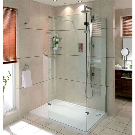 Bathroom Showers Uk Aqata Spectra Walk In Shower Enclosure With Hinged Panel Sp446c Corner Uk Bathrooms