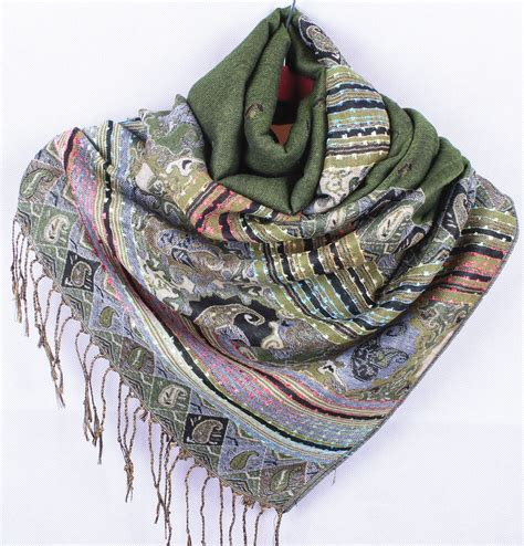 green s reversible two shawl pashmina silk scarf wrap scarves size 70x190cm ws 020 in