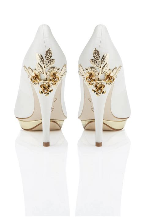 White And Gold Wedding Shoes by Bridal Shoes
