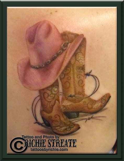 cowgirl boots and hat tattoo tattoo s by richie streate