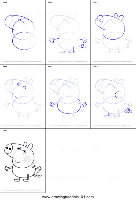 how to a pig how to draw george pig from peppa pig printable step by step drawing sheet