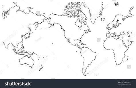 world map united states world map centered on united states stock illustration