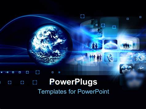Powerpoint Template Hi Tech Futuristic Concept With Globe And Collage Of Images 13254 High Tech Powerpoint Template