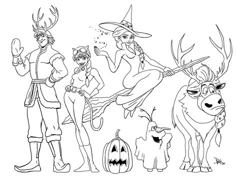 Elsa Halloween Coloring Page | elsa and the gang on halloween coloring page from r
