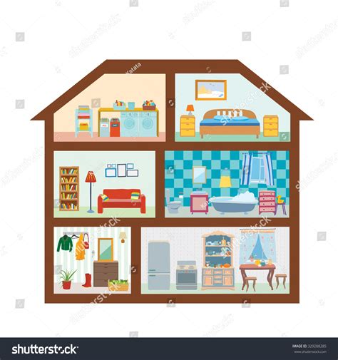 house with rooms house modern interior cutaway bedroom kitchen stock vector