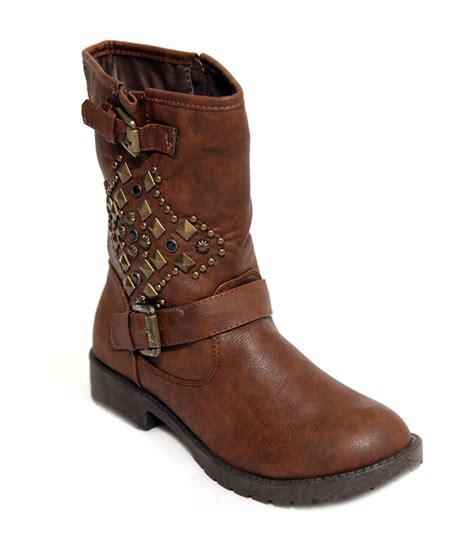 seasonfootwear womens faux leather studs motor