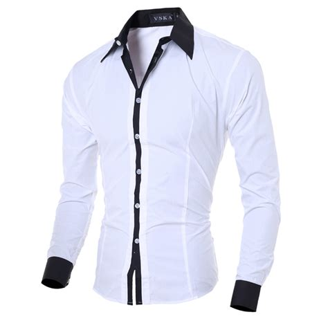 Marcos Black White Kemeja Pria Style Casual Slim Fit new fashion mens luxury casual stylish slim fit