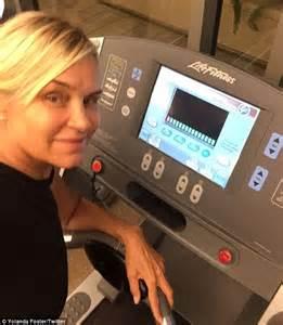 yolanda foster pubic bone yolanda foster hits the gym after removing breast implants