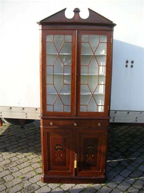 Mahogany Corner Bookcase Antique Mahogany Inlaid Standing Corner Display Bookcase Cabinet Cupboard 195502