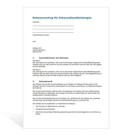 Mustervertrag Word Mustervertrag F 252 R Inkassodienstleistungen