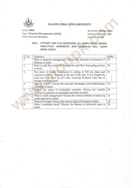 Financial Management Solved Papers For Mba by Financial Management Code 5535 Level Mba Paper Of Aiou