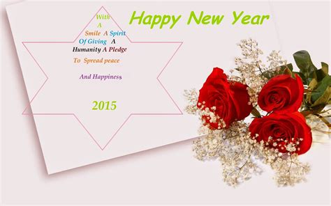 happy new year 2015 greetings wishes rose flowers wallpaper