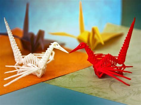 Skeleton Origami - origami crane skeleton 3d model 3d printable obj