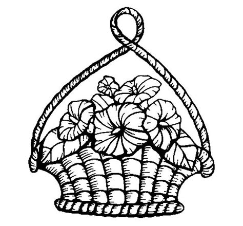 coloring pages basket of flowers decorate your house with basket of flowers coloring pages