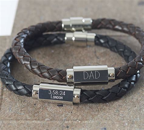 mens leather id bracelets personalised chunky leather identity bracelet by suzy q