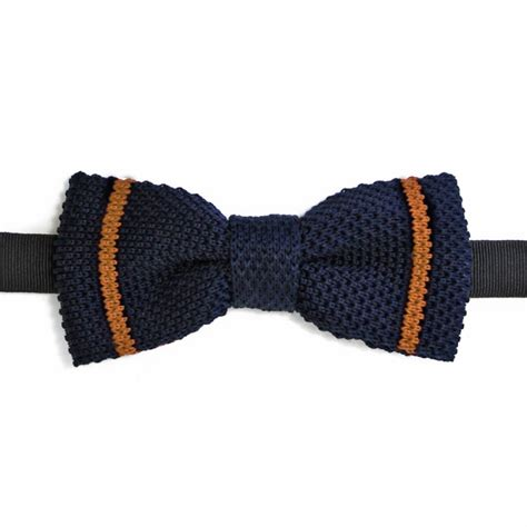 Knit Bowtie Brown navy blue cotton knit bow tie with brown stripes made in italy
