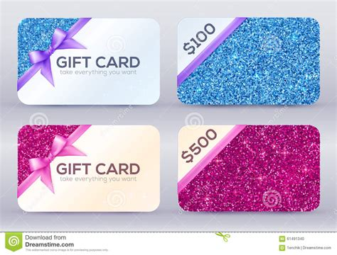Pink Gift Card Balance - set of blue and pink glitter gift cards templates stock vector image 61491340