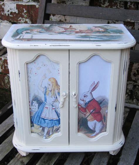 shabby chic jewellery box alice in wonderland upcycled by thesecretcabinet on etsy shabby