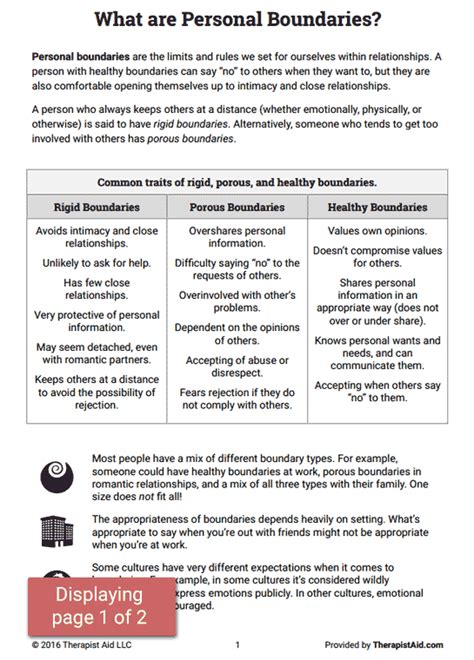 Setting Healthy Boundaries Worksheets by Boundaries Info Sheet Worksheet Therapist Aid