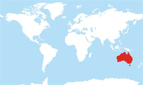 australia on the map of the world where is australia located on the world map
