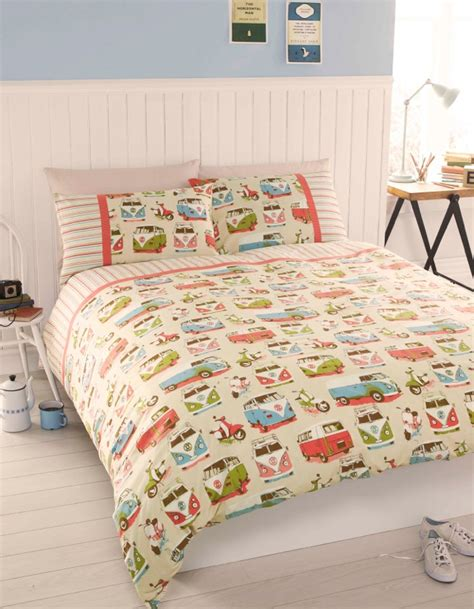 Retro Bed Sets Vintage Retro Vw Cervan Bedding Single Or King Size Quilt Cover Set Ebay