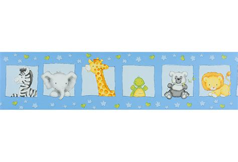 cenefa adhesiva infantil cenefa infantil de papel safari azul ref 15629103 leroy