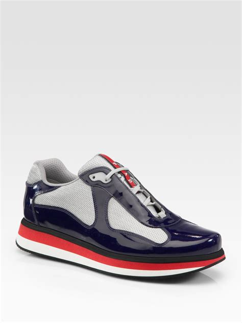 pradas shoes for lyst prada americas cup patent leather sneakers in black