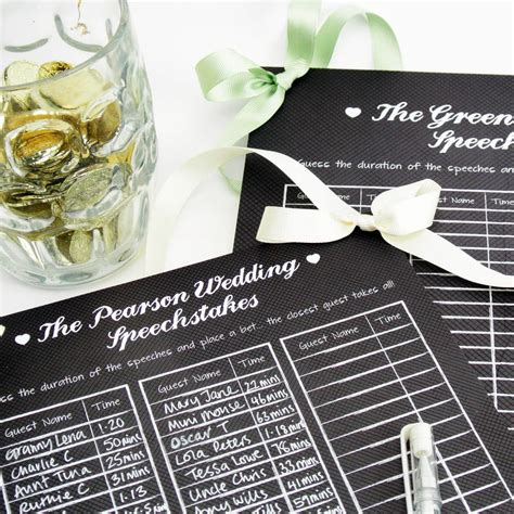 Wedding Speech Sweepstake - personalised wedding speech sweepstakes board by postbox party notonthehighstreet com