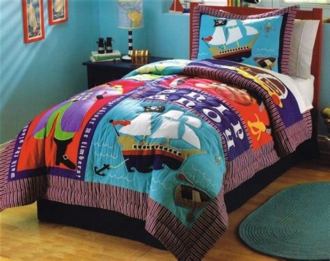 boys kids pirate ship treasure twin quilt sham bedding