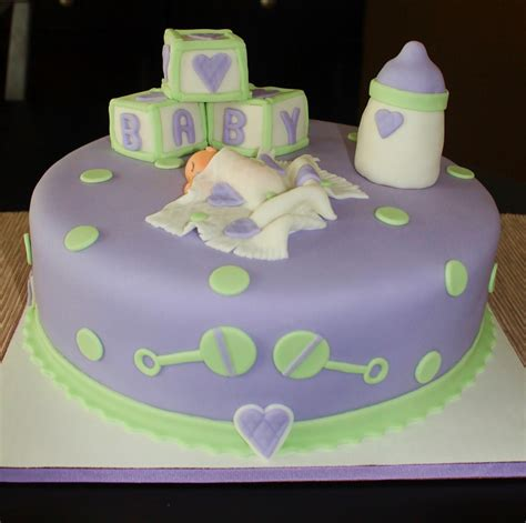Green Baby Shower Cake by Creative Cakes By Purple Green Baby Shower Cake