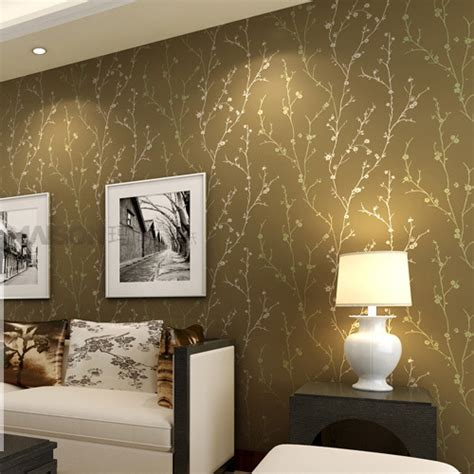 Tree Design Wallpaper Living Room by Aliexpress Buy Classic Flock Textured Wallpaper