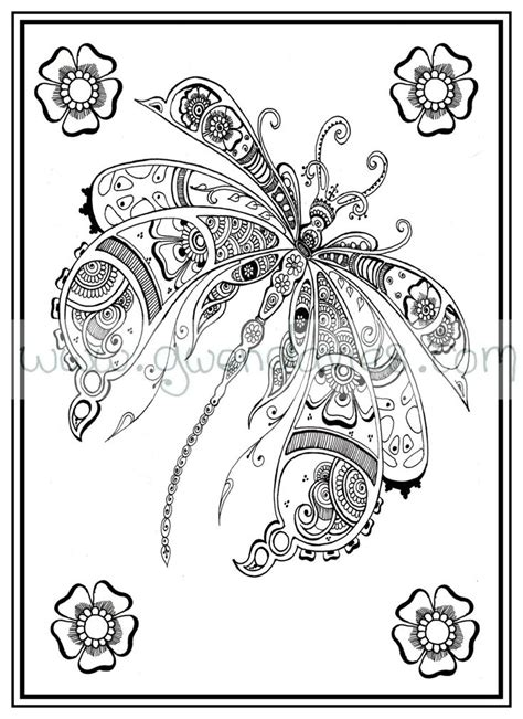 adult colouring    dragonfly henna zen