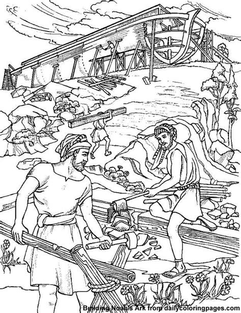 bible coloring pages noah s ark building noahs ark bible coloring sheets png 625 215 814