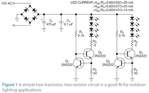 transistor led driver schematic transistors drive leds to light the path edn