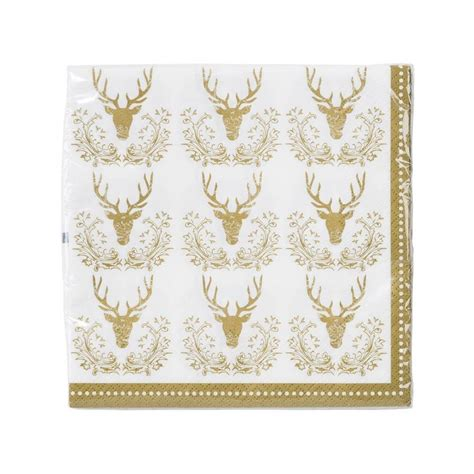 christmas gold stag napkins by postbox party