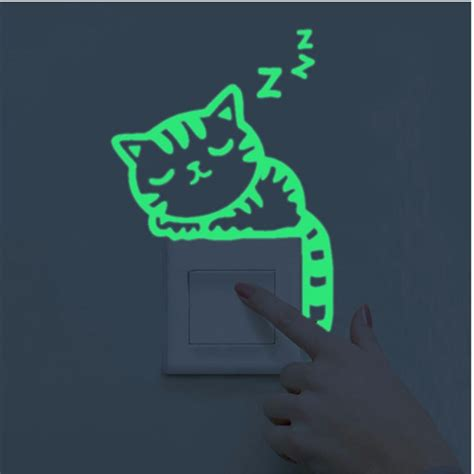 wall stickers glow in the quot sleepy quot glow in the wall sticker cat collection