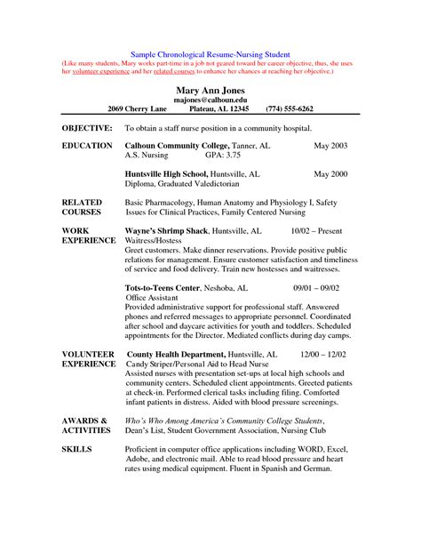 Resume Student Examples by Tips For Student Nurse Resume Writing Resume Sample