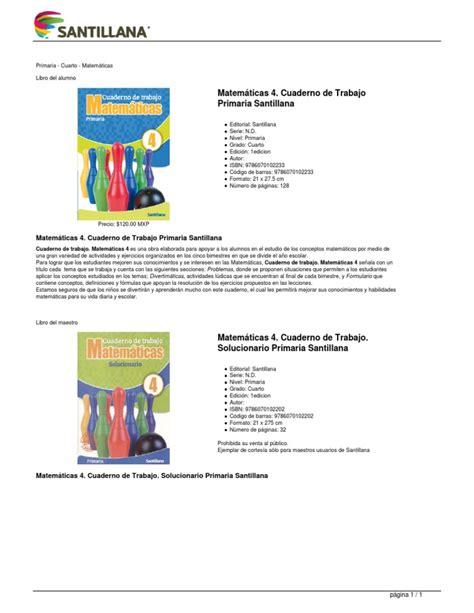cuaderno matemticas 4 primaria 8483056526 matematicas 4 cuaderno de trabajo primaria santillana
