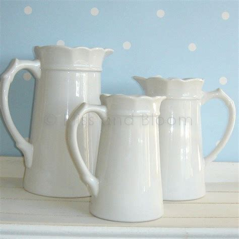 White Jug Vase set of 3 white jug pitcher vases bliss and bloom ltd