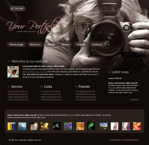photographer design templates real focus website template 4317 photography