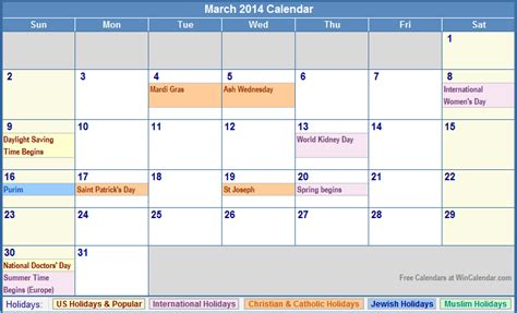 Printable Calendar With Holidays 2014 March 2014 Calendar With Holidays As Picture