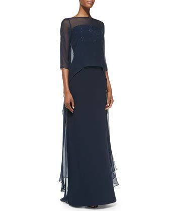 Dress with chiffon popover by ml monique lhuillier mother of the bride