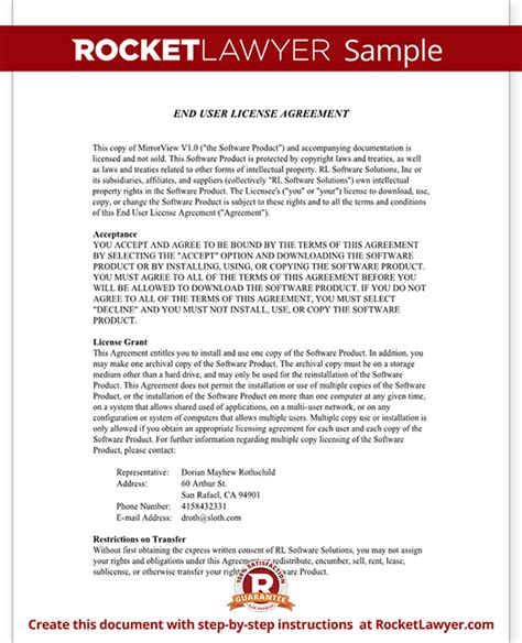 end user agreement template end user license agreement eula template with sle