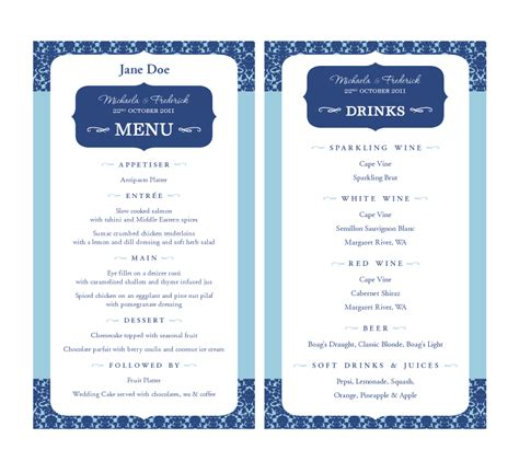 Krizardo Com Wedding Menu Perfect Pair Cards And Candy Buffet Menu Cards