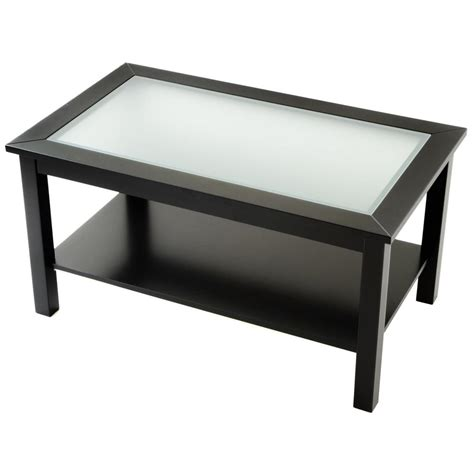 Lower Shelf by Coffee Table With Glass Insert Top And Lower Shelf